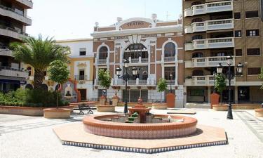 Almendralejo:  Parque de Espronceda, al fondo el teatro carolina coronado