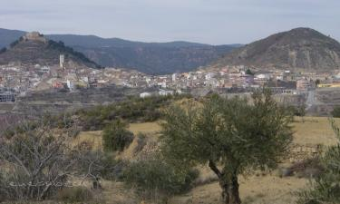 Jalance:  Jalance El aceite de éste municipio es muy apreciado, en ésta imágen vemos los campos de olivos y Jalance al fondo.